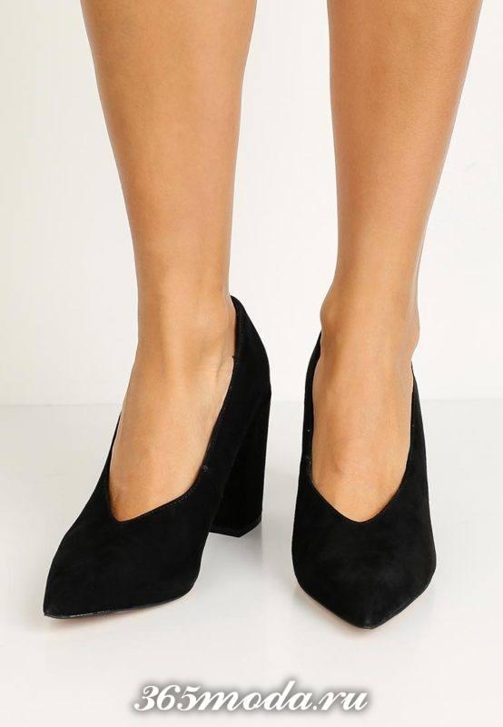 базовые туфли на толстом каблуке