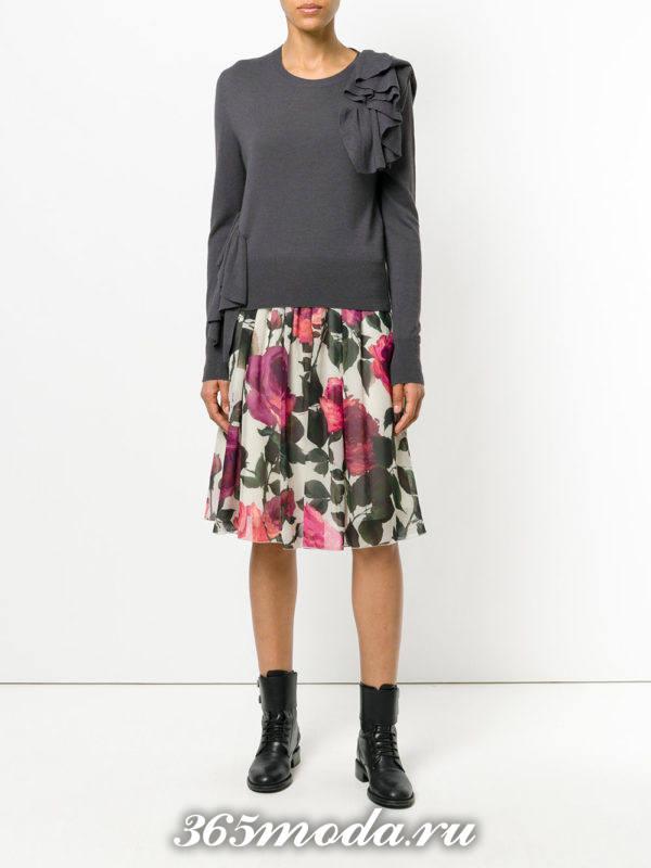 базовая юбка миди с принтом
