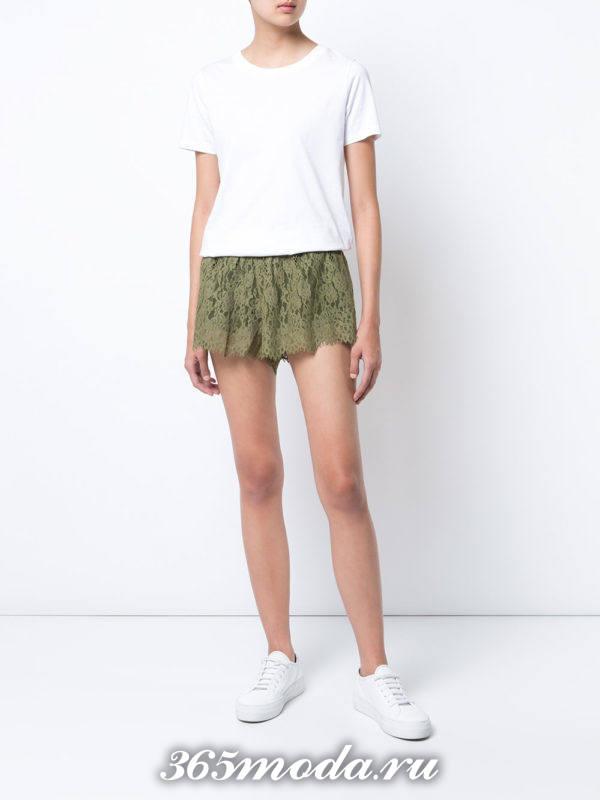 базовые летние кружевные короткие шорты