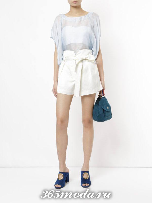 базовые летние белые шорты с поясом