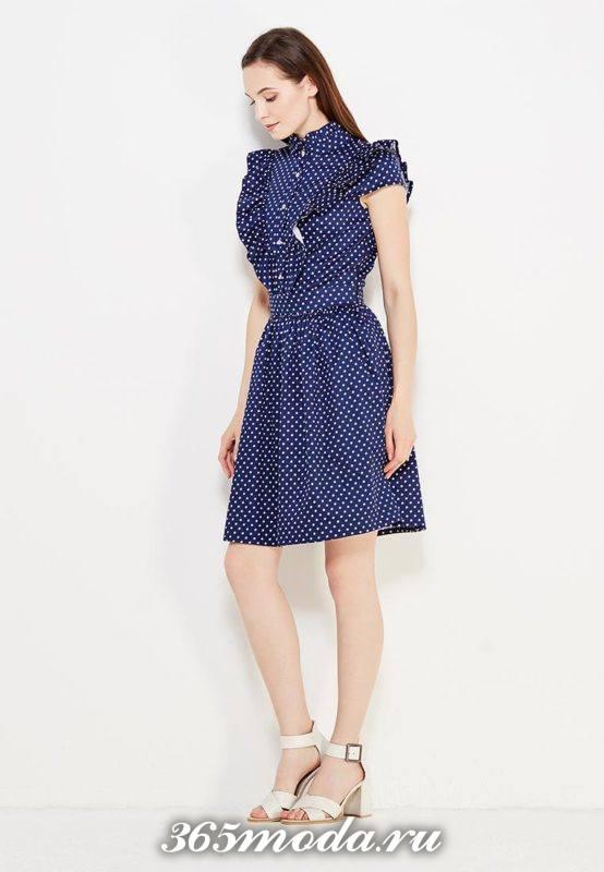базовое летнее платье клеш с принтом