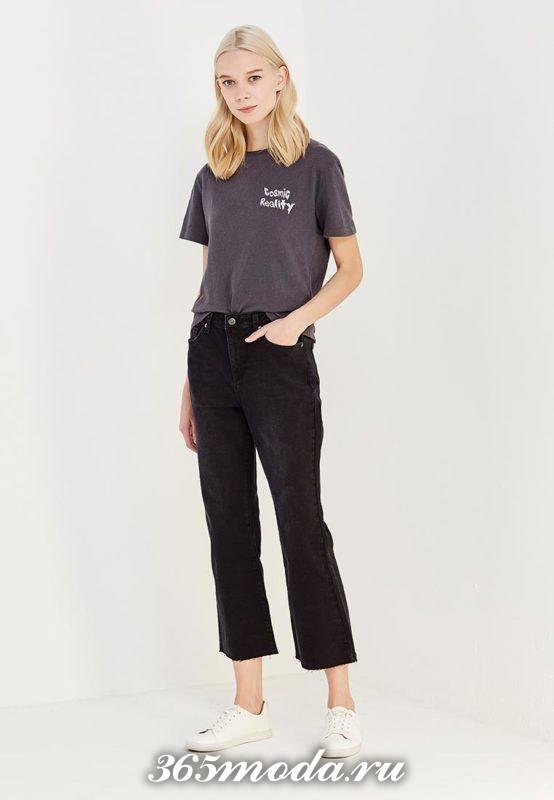 летние базовые черные укороченные джинсы