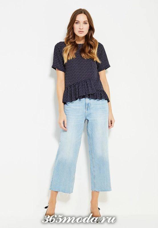 летние базовые шырокие короткие джинсы