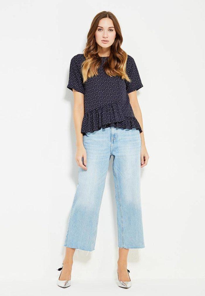 летние базовые широкие короткие джинсы
