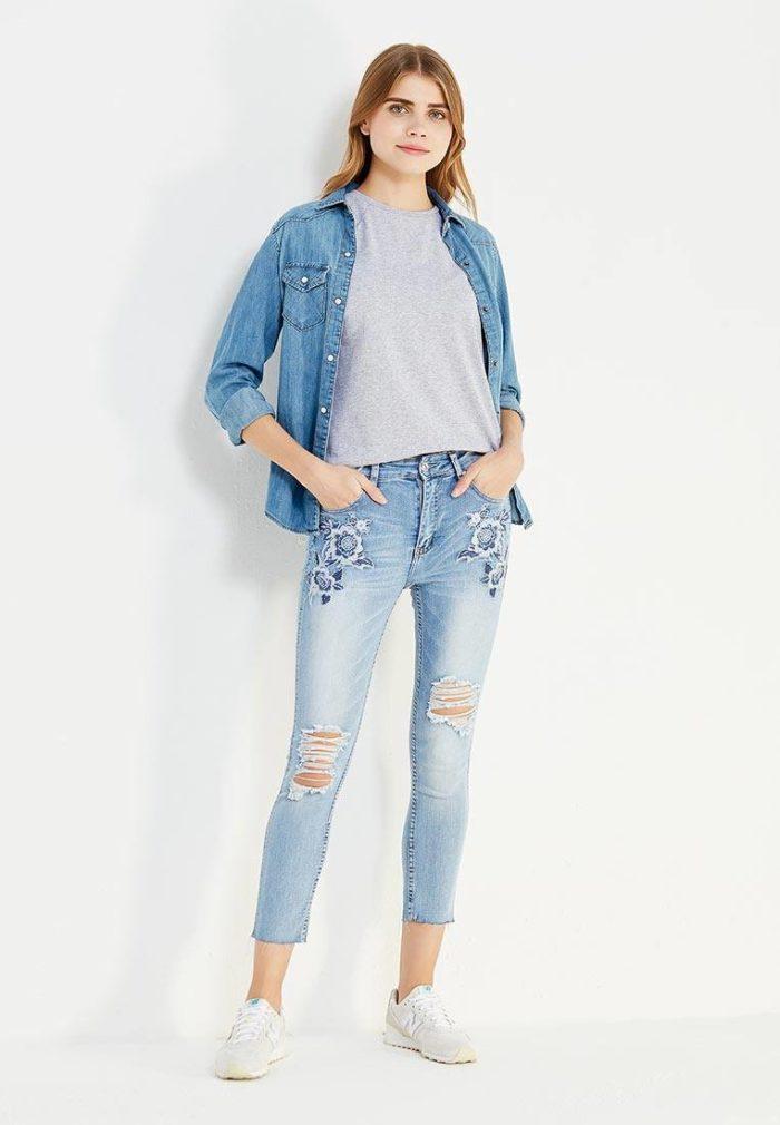 летние базовые джинсы скинни с декором
