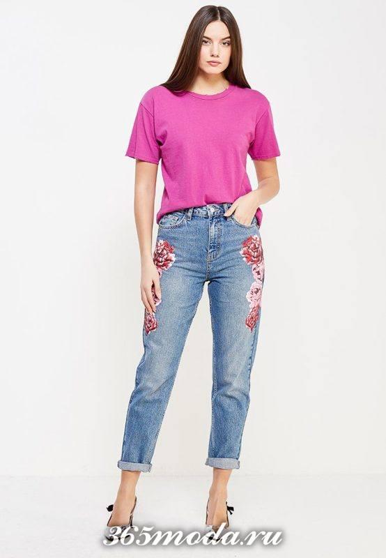 летние базовые прямые джинсы с вышивкой