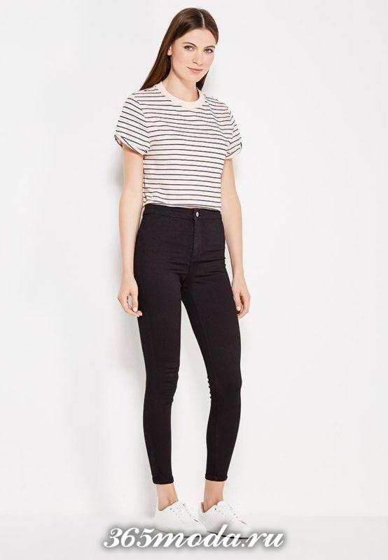 летние базовые черные джинсы скинни