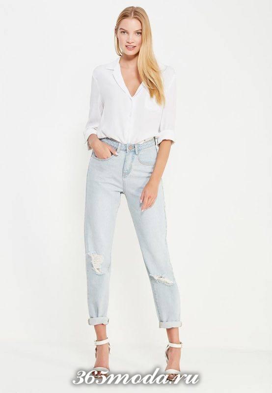 летние базовые светлые джинсы бойфренды