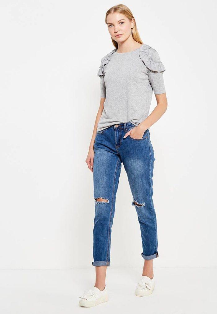 летние базовые прямые джинсы с разрезами