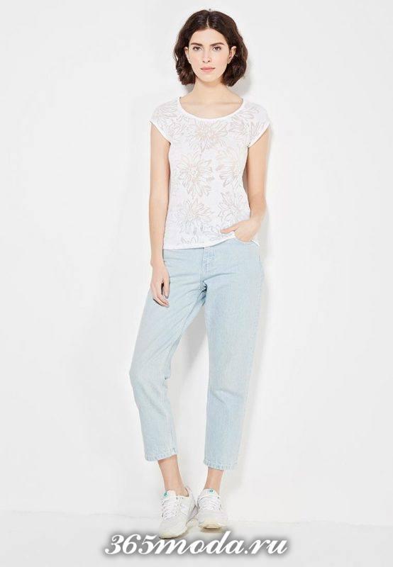 базовая летняя белая футболка с принтом