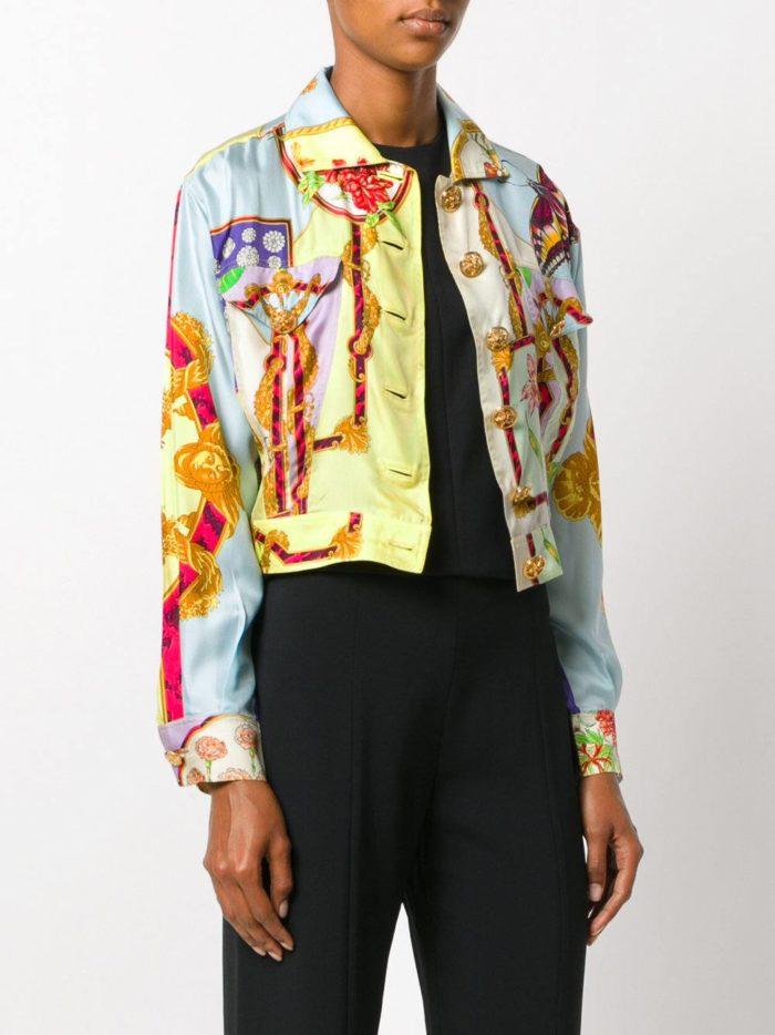 базовый летний разноцветный жакет на пуговицах