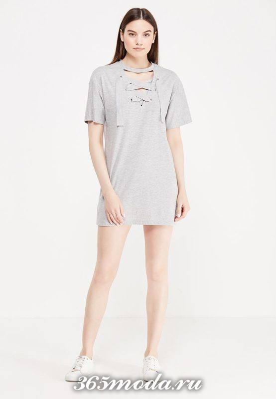 базовое летнее мини платье-футболкаа
