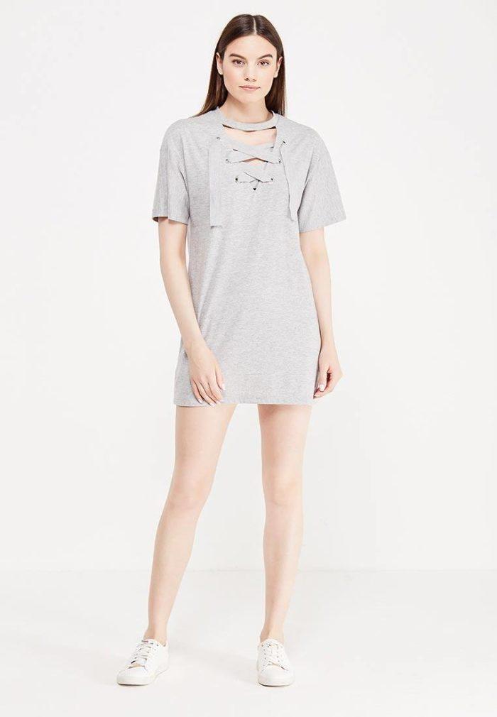 базовое летнее мини платье-футболка
