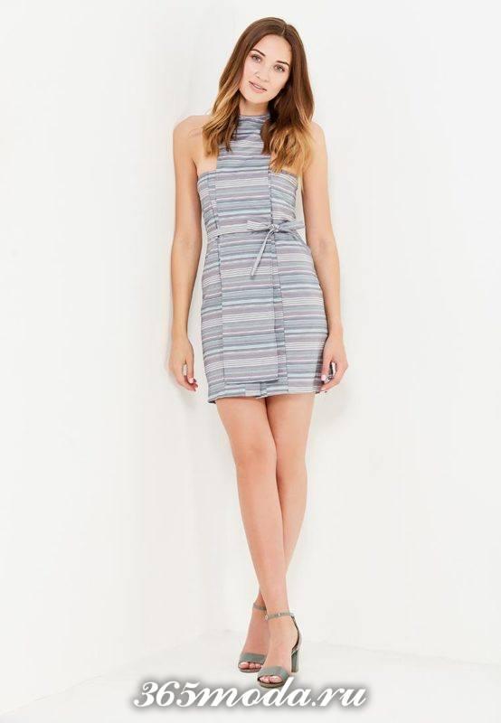 базовое летнее мини платье с поясом