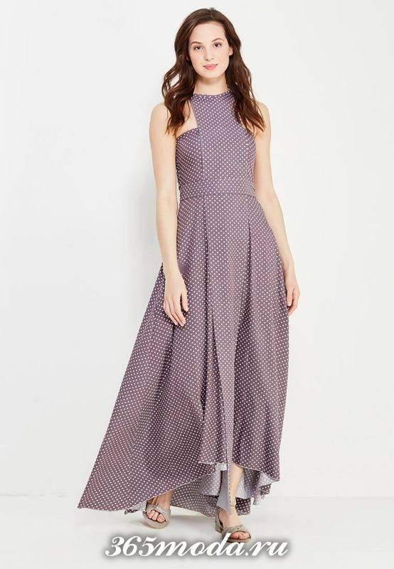 базовое летнее асимметричное макси платье с принтом