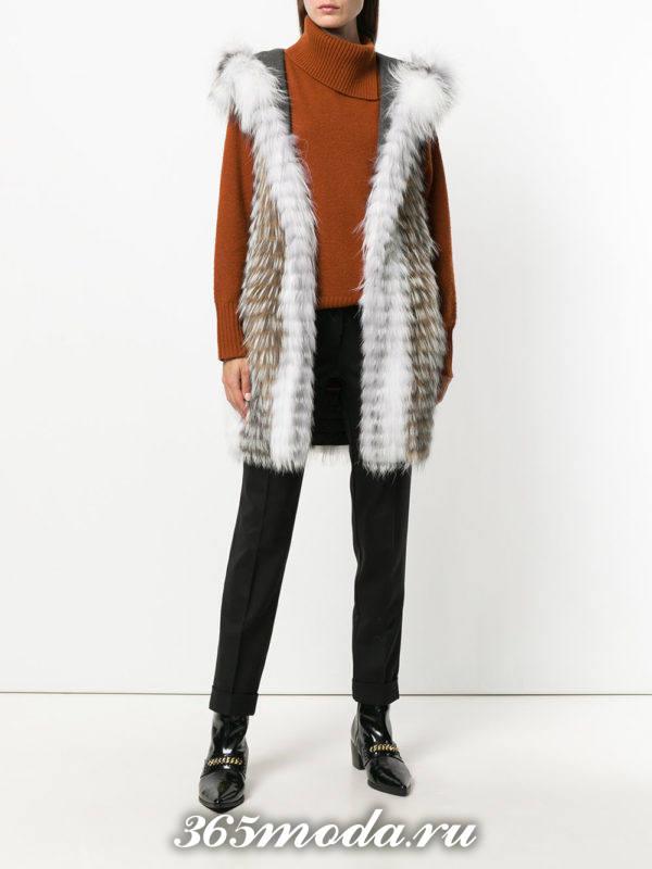меховой жилет из лисы двухцветный с брюками