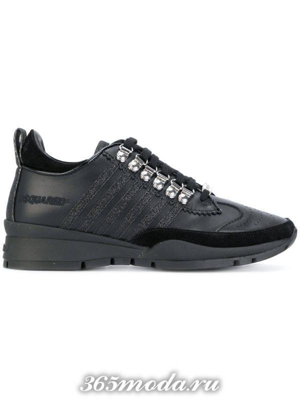 монохромные черные кроссовки