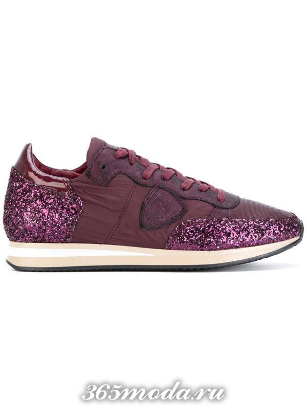 монохромные фиолетовые кроссовки с блестками