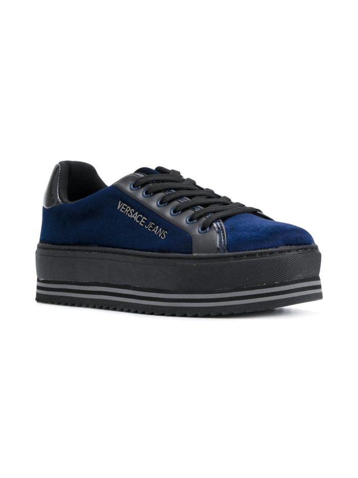 кроссовки на танкетке бархатные синие