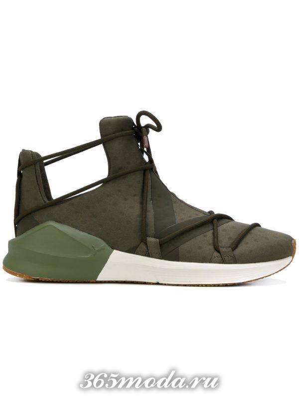 высокие кроссовки зеленые