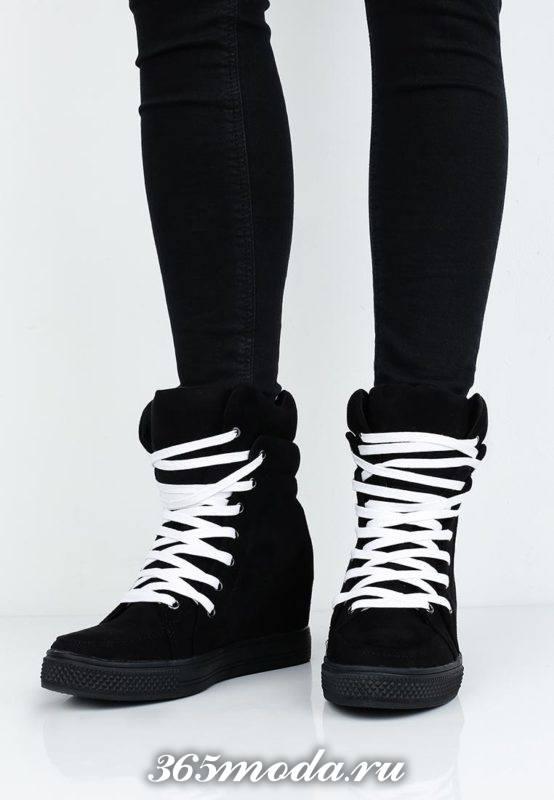 кроссовки сникерсы черные на шнурках