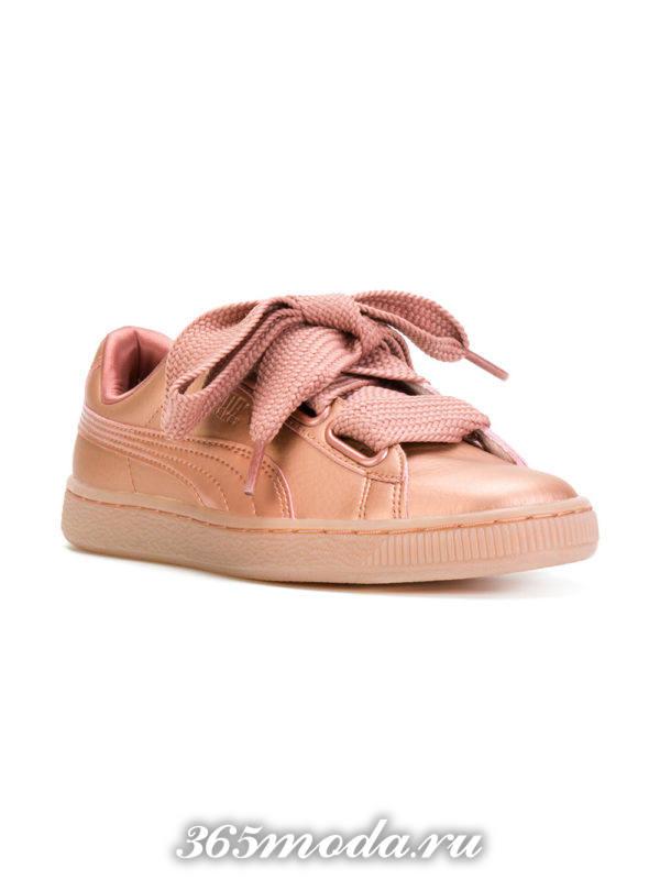 кеды розовые со шнуровкой