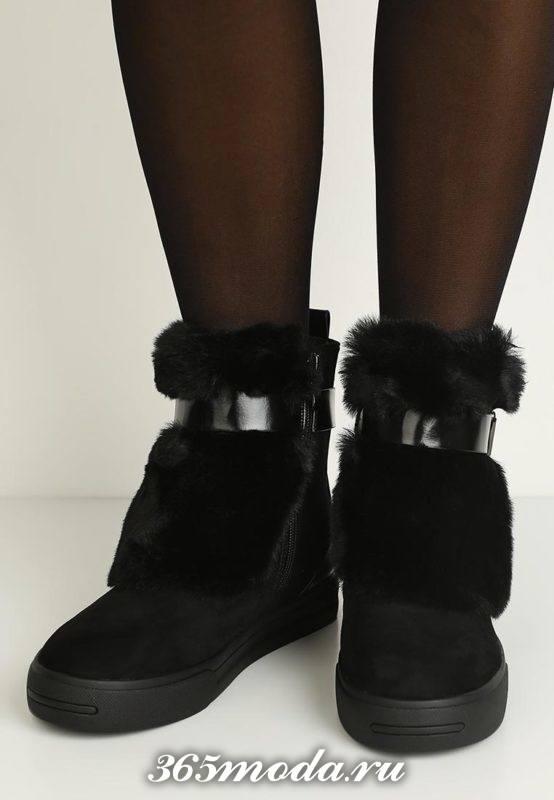кроссовки сникерсы черные с мехом
