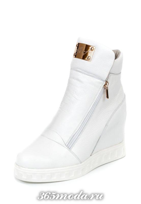 кроссовки сникерсы белые кожаные