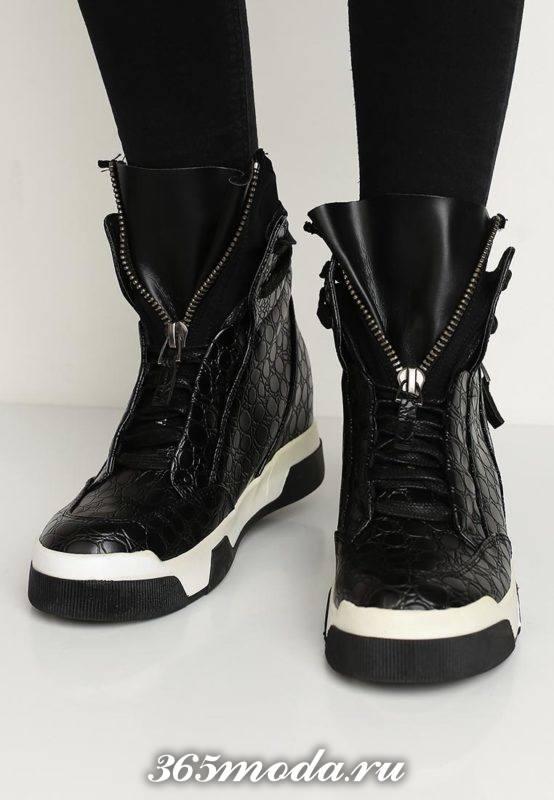 кроссовки сникерсы черные с декором