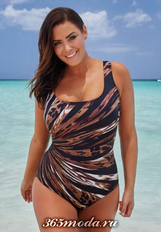 слитный купальник с леопардовым принтом для полных женщин