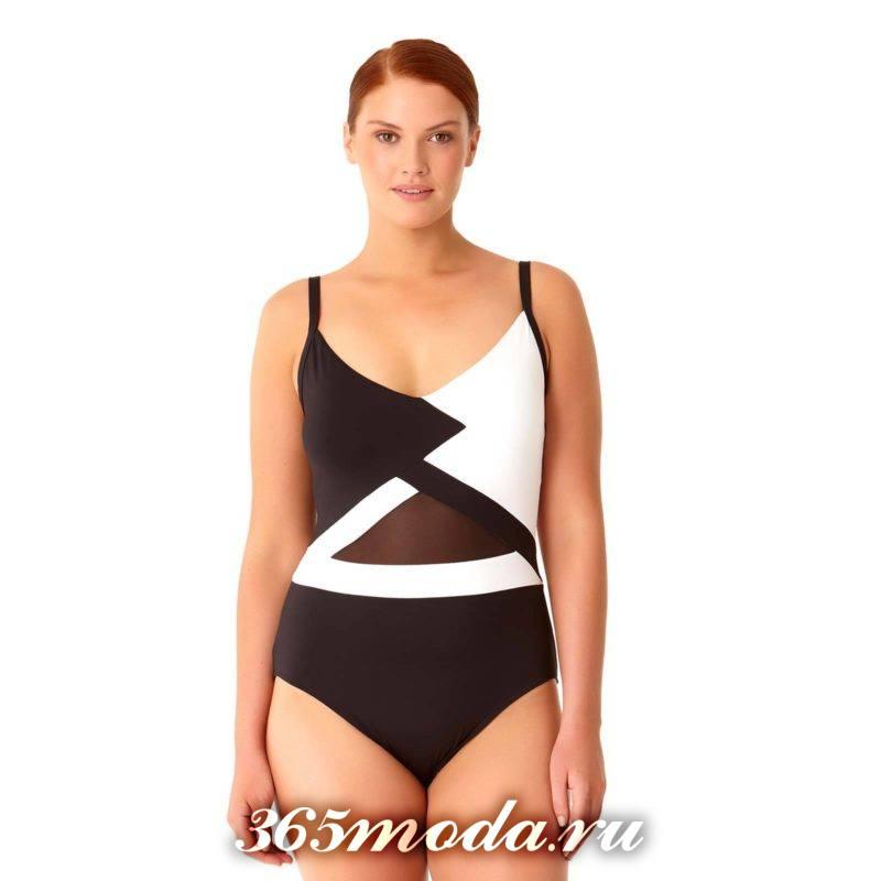 слитный купальник с геометрическим рисунком для полных женщин