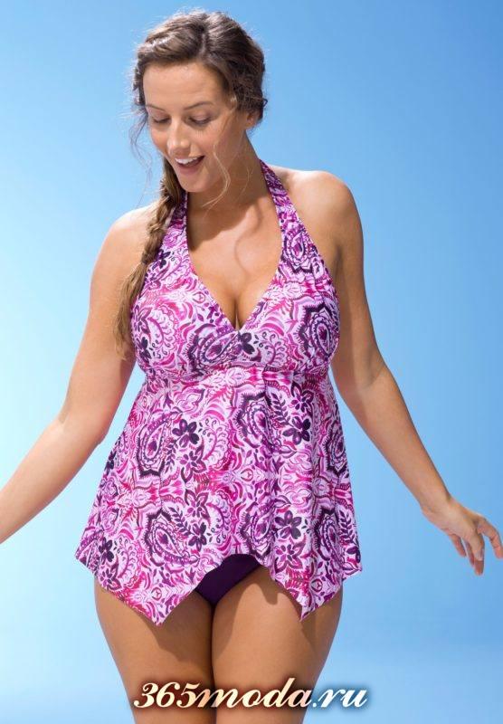 фиолетовый купальник-платье с принтом
