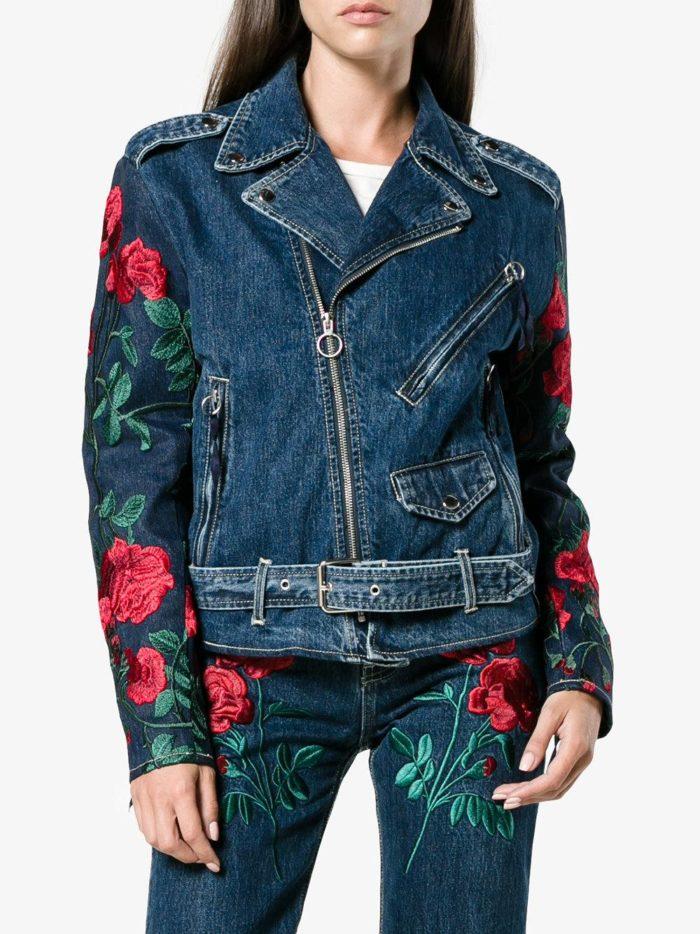 джинсовая куртка косуха с вышивкой