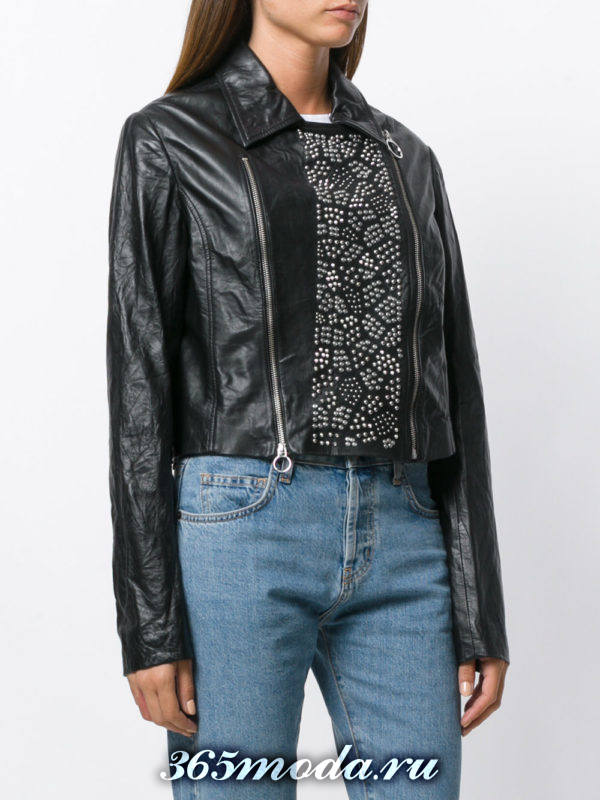 куртка косуха с декорированной вставкой
