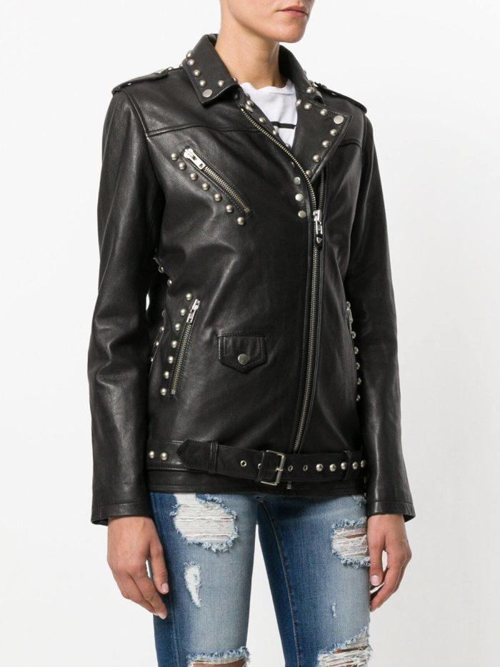 куртка косуха в бунтарском стиле удлиненная