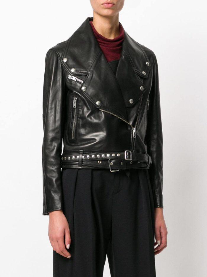 куртка косуха в бунтарском стиле с поясом