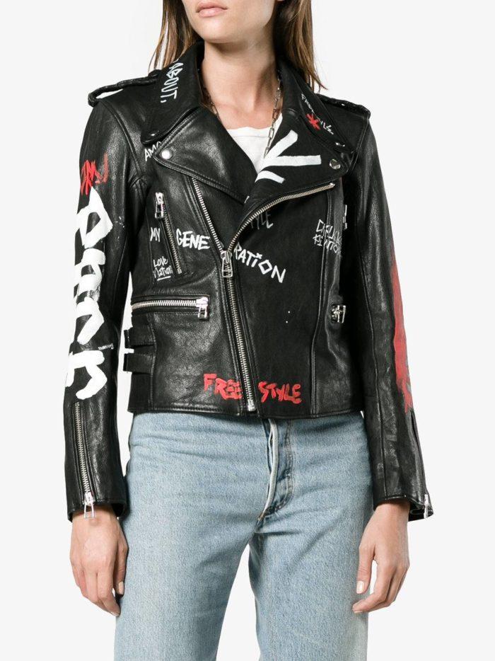 куртка косуха в бунтарском стиле с надписями