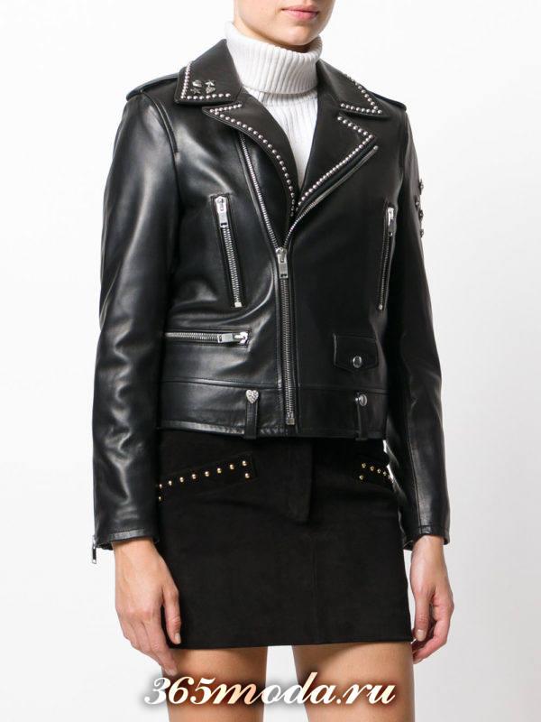 куртка косуха в бунтарском стиле с заклепками