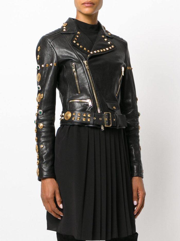 куртка косуха в бунтарском стиле с золотым декором