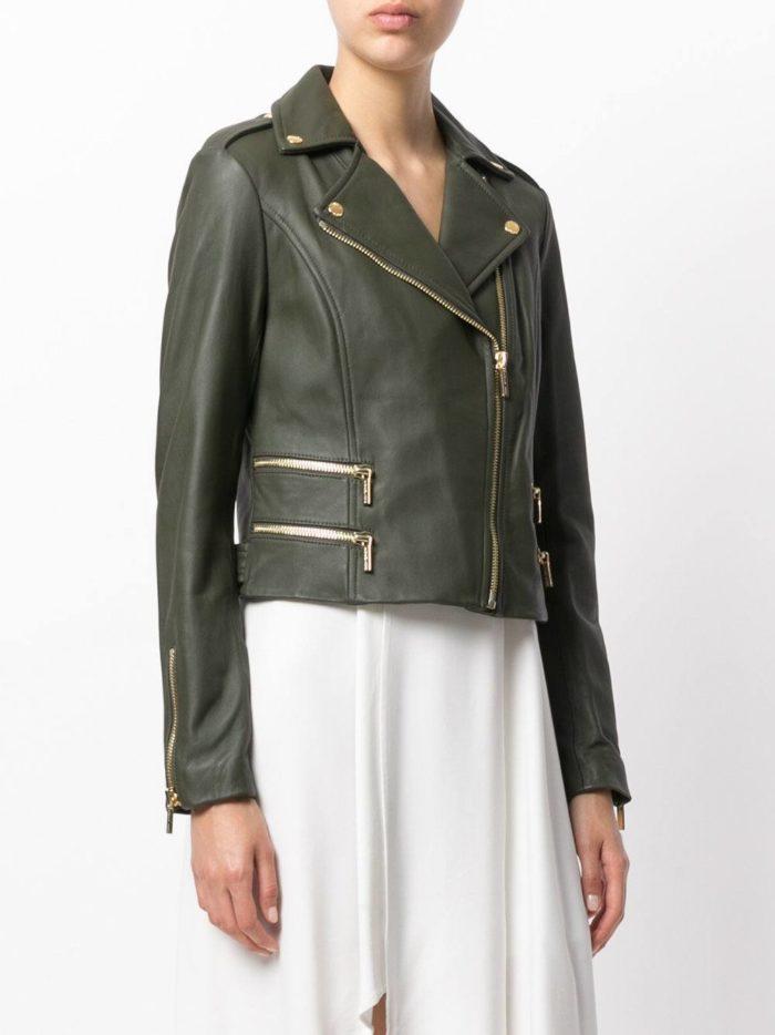 кожаная зеленая куртка косуха