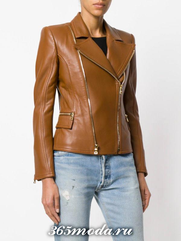 кожаная коричневая куртка косуха