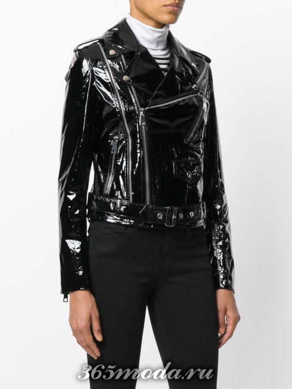 куртка косуха из лаковой кожи