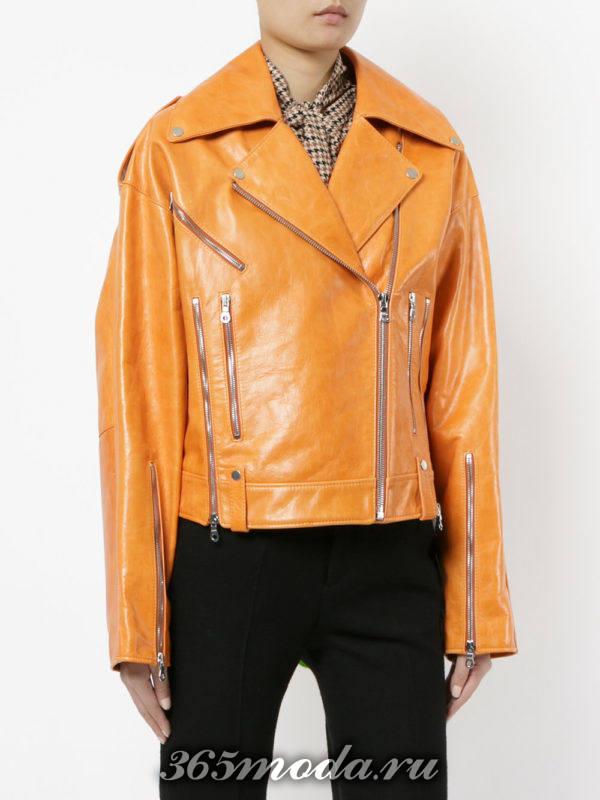 кожаная желтая куртка косуха
