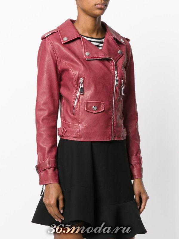 вишневая куртка косуха