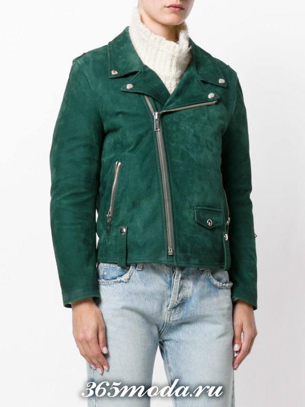 замшевая зеленая куртка косуха