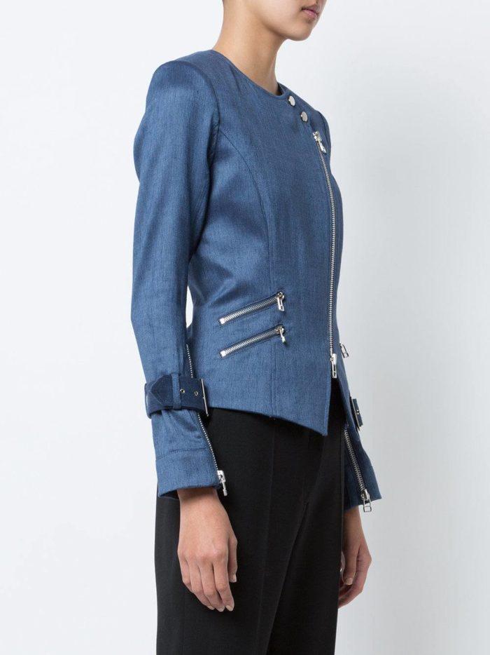 синяя куртка косуха из ткани