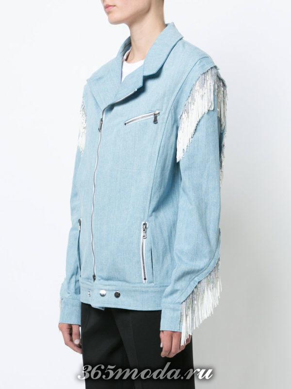 куртка косуха из хлопка с бахромой