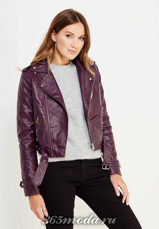 фиолетовая куртка косуха с поясом