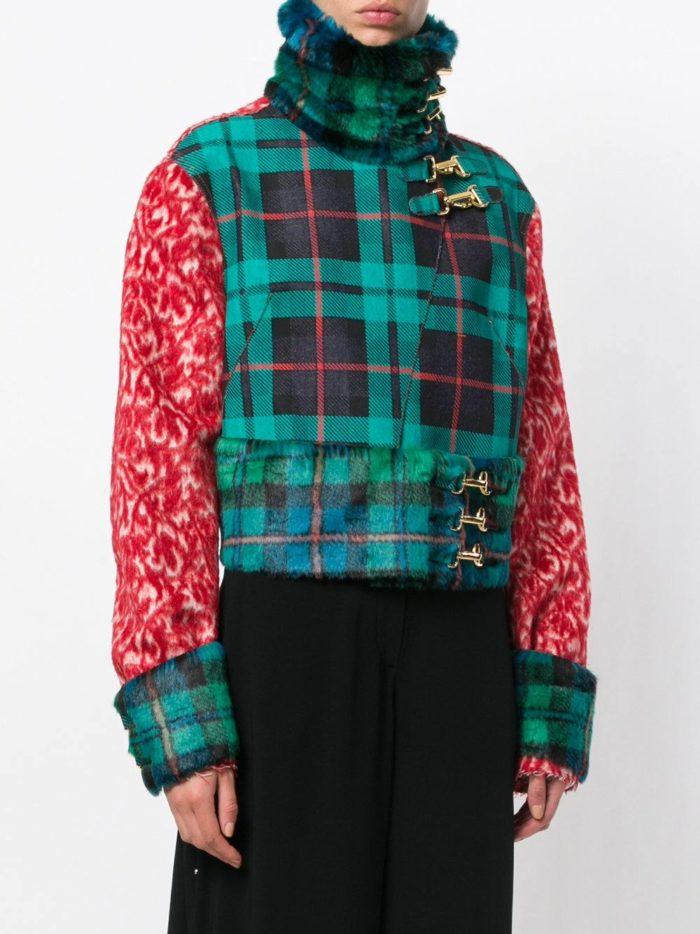куртка косуха с принтом с мехом