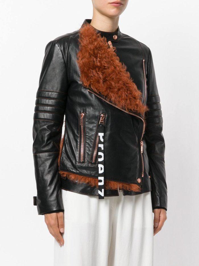черна куртка косуха с мехом